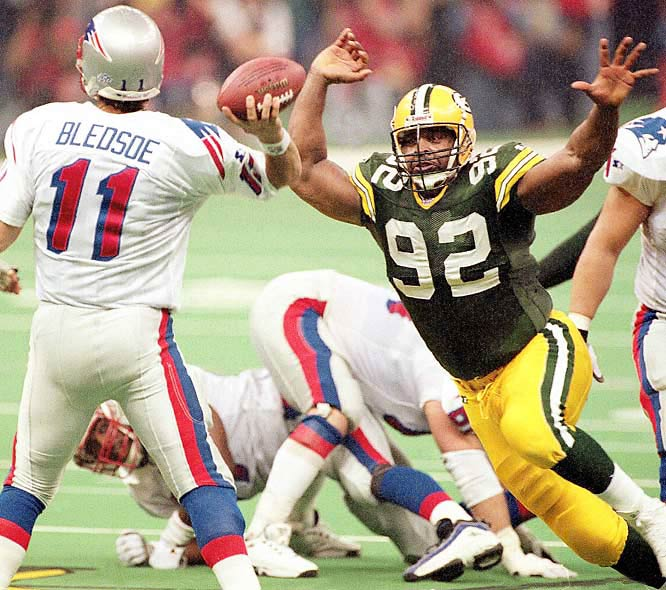 The Minister of Defense, Reggie White had a Super Bowl-record three sacks against the Patriots, who finished with 257 yards total offense and were further hampered by Drew Bledsoe's four interceptions.