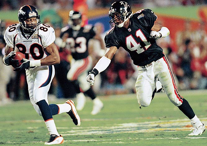 Rod Smith had five receptions for 152 yards as Denver topped Atlanta 34-19 to win its second-straight Super Bowl. Quarterback John Elway hooked up with Smith for an 80-yard touchdown pass in the second quarter, marking a Super Bowl record.