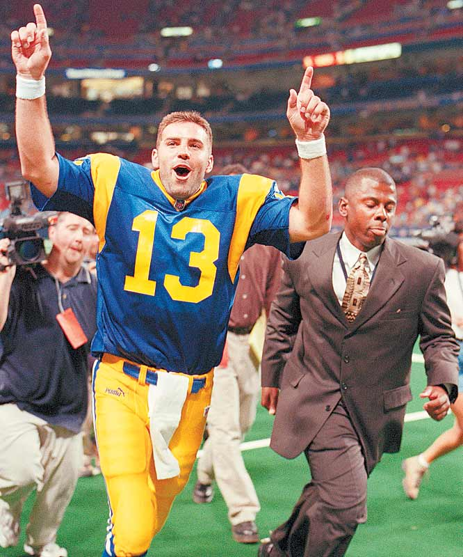 A former NFL Europe quarterback who got promoted when Rams starter Trent Green was injured in the preseason, Kurt Warner had a storybook season in 1999-2000. Not only did he win the regular season MVP award after throwing for 4,353 yards, 41 touchdowns and just 13 interceptions, but he also was named Super Bowl MVP after completing 24 of 45 passes for 414 yards and two touchdowns.