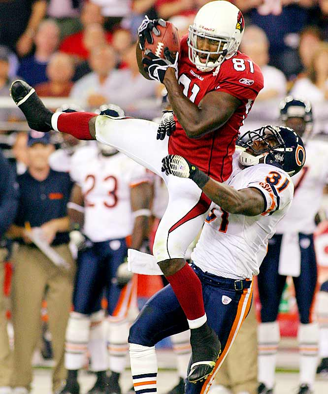 299 ... Arizona receiver Anquan Boldin's 12 catches against the Bears gave him 299 receptions in 46 career games. He needs one reception in his next seven games to become the fastest player in NFL history to reach 300 catches. Denver's Lionel Taylor caught 300 passes in his first 54 games.