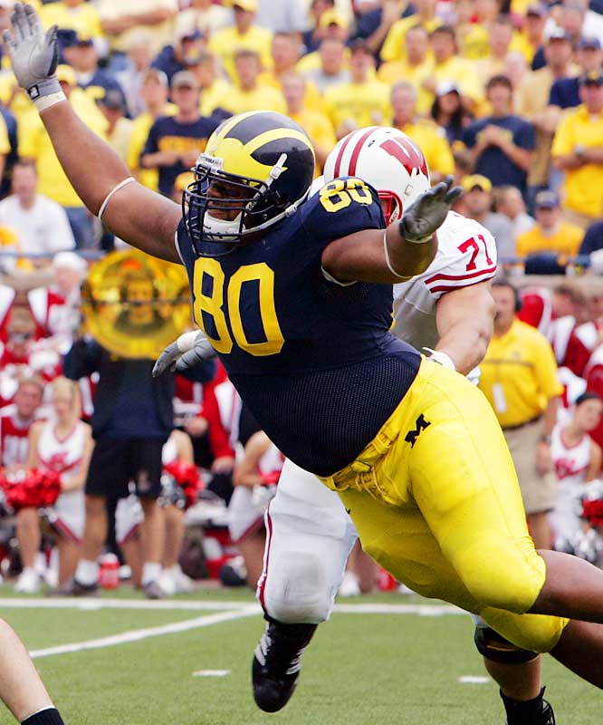 Branch is a powerful defender who commands double and triple teams in the middle of the Michigan line.