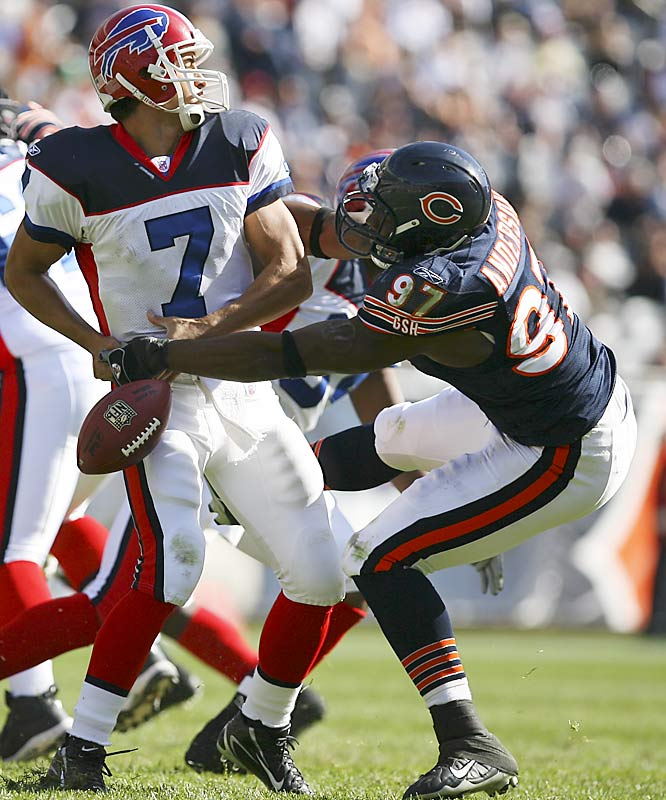 Last week: unranked<br><br>Anderson sacked Bills quarterback J.P. Losman twice and caused a fourth-quarter fumble last Sunday. The former Alabama standout has 5.5 sacks on the season and has become another factor for opposing offenses to contend with in this outstanding Bears defense.