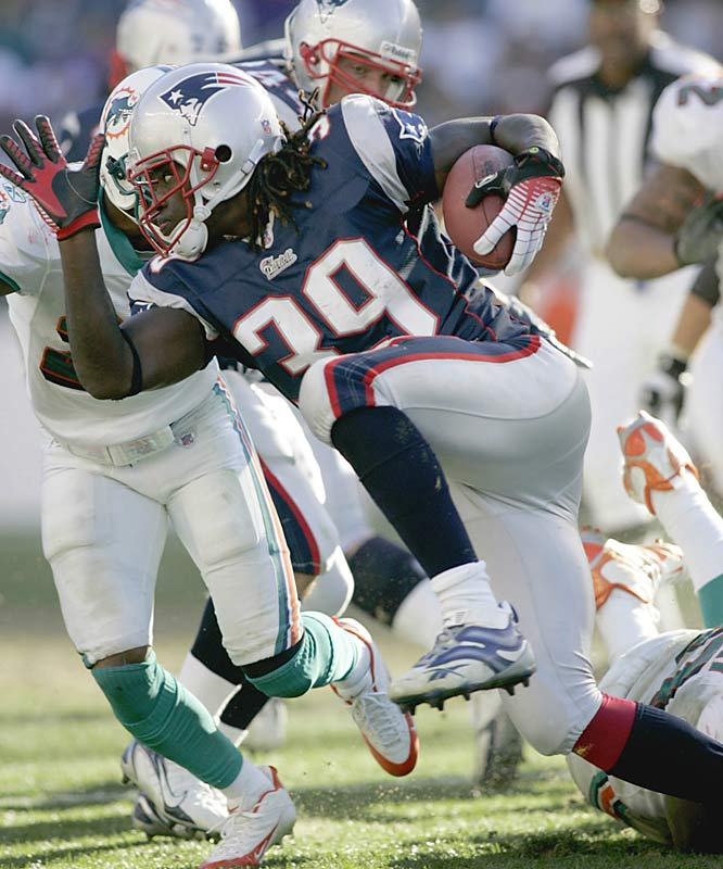 Last week: No. 2<br><br>Maroney came down to Earth last Sunday, rushing for 38 yards on 18 carries against the Dolphins, but the shifty back still leads all rookies with 332 rushing yards and is a huge part of the Patriots' efforts to return to the Super Bowl.