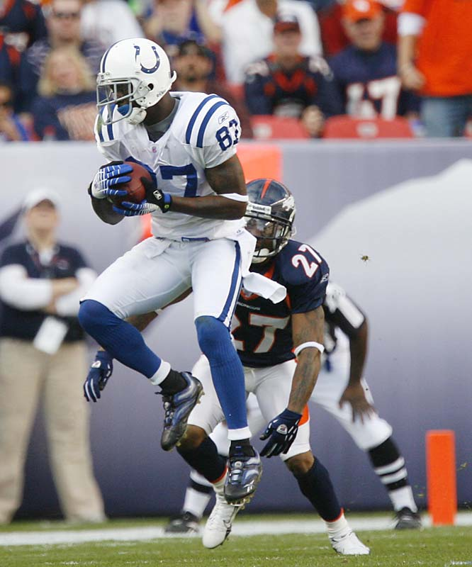 Reggie Wayne caught 10 passes for 138 yards and three touchdowns as Denver allowed more points in its loss to the Colts than it had in its five previous games combined (26).