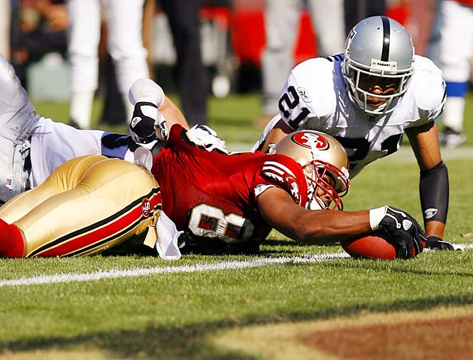 Wide receiver Arnaz Battle reached the end zone twice for the 49ers, scoring on two of Alex Smith's three touchdown passes in the Battle of the Bay.