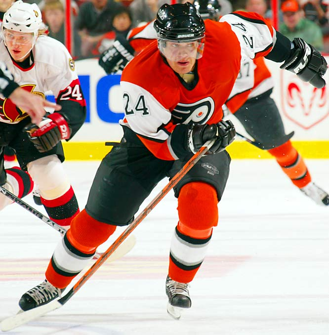 """Blessed with sizzling up-and-down speed on the wing, """"the Flying Finn"""" won the fastest skater competition at the 2000 and '02 All-Star Games. Yet another waterbug (5-9, 181), the Flyers' top transition player is a five-time 20-goal scorer with superb defensive skills -- so much so that coach Ken Hitchcock has considered putting him on the blue line."""