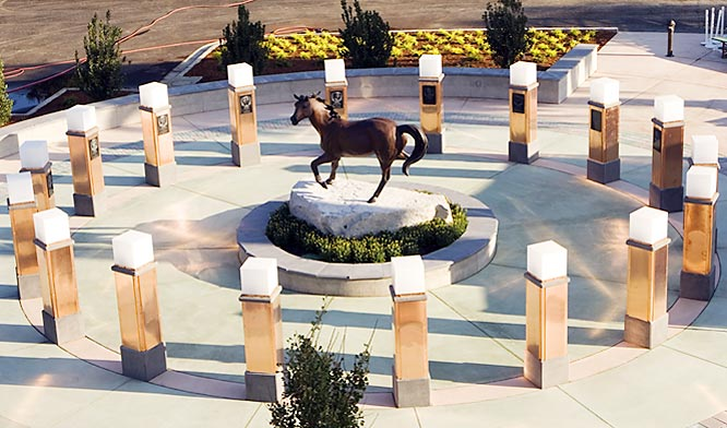 A plane crash killed 16 players of the Cal Poly San Luis Obispo football team, a team manager and booster, in Toledo, Ohio. In September of this year, the 1960 football team was inducted into the Cal Poly Athletics Hall of Fame and Mustang Memorial Plaza (left) was dedicated to those who perished in the crash.