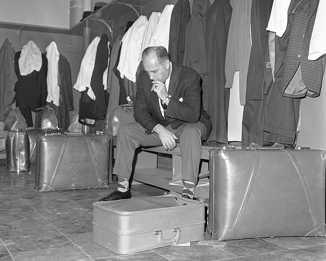 In 1961 Auerbach had to sit out three games under a suspension he received from the commissioner. During a game between the Celtics and the New York Knicks, Auerbach sat in the dressing room and could not leave until the game was over.