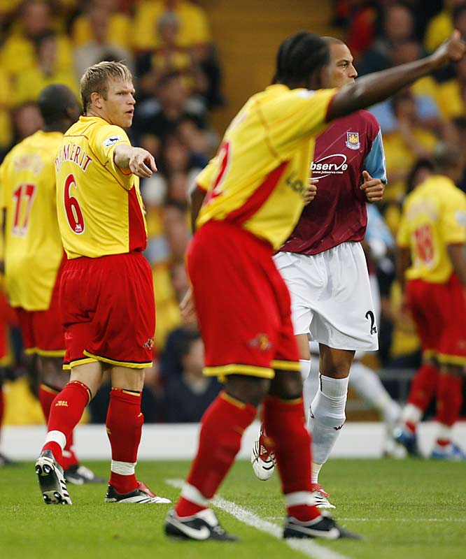 Green Bay, Wisc., native Jay DeMerit (6) is probably the unlikeliest of all American players to be pursuing his dream in the English Premier League, one of the world's top soccer leagues. The 26-year-old defender has become a key player at Watford despite never having played for a U.S. team at any level.