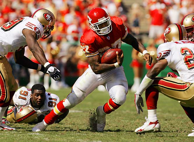 Larry Johnson and the Chiefs left defensive tackle Anthony Adams and the 49ers in the dust Sunday. Johnson rushed for 101 yards and two touchdowns in the game.