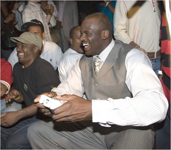 "You wouldn't know Shaq was the game's cover boy by watching him play. The Diesel went out in the tournament's first round. Shaq might have been better-suited playing an old-school game ""When I was in college, Double Dribble [for Nintendo] was the game. We played that all the time."""