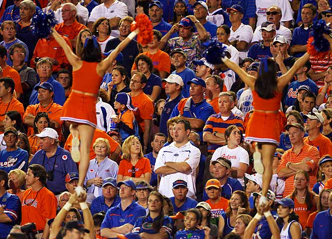 Some Florida cheerleaders try to liven up a relatively unexcited section of Florida fans.