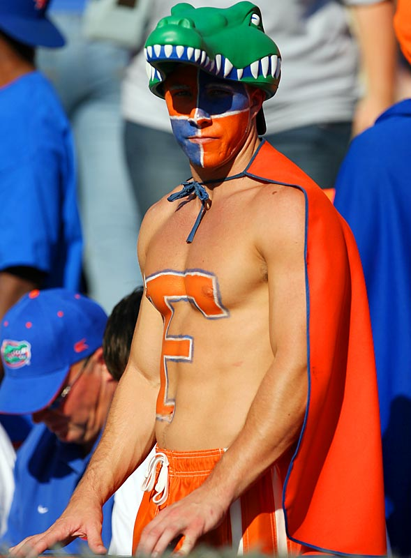 This Florida fan was able to escape the gym for a few hours to watch his Gators in action.