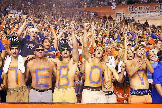 Fans showed support for quarterback Tim Tebow during the Gators matchup against South Carolina in Gainesville on Saturday.