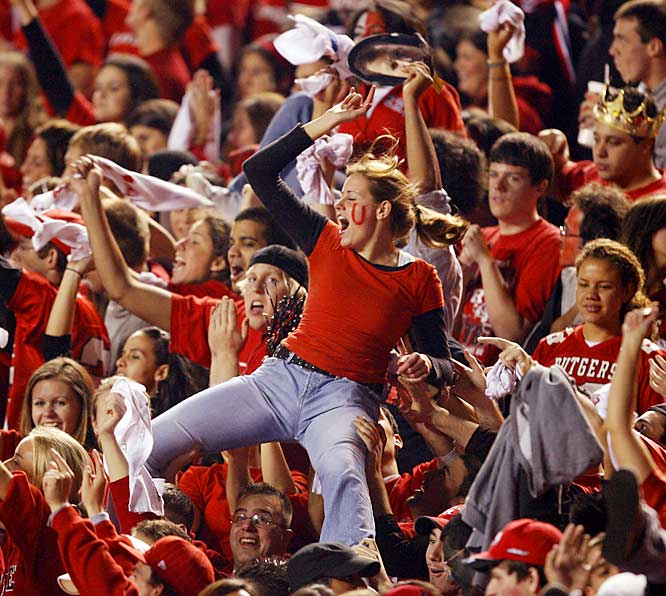 A fan crowdsurfed through Rutgers Stadium after the Scarlet Knights scored an early touchdown on Thursday night.