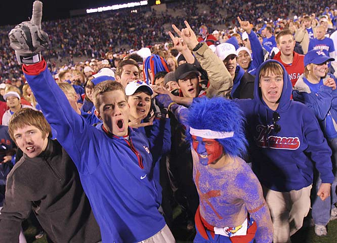 Kansas fans whooped it up after the Jayhawks defeated in-state rival Kansas State, 39-20, on Saturday in Lawrence.