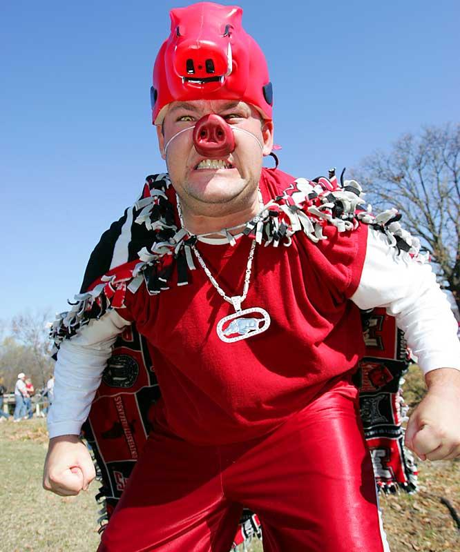 A Razorback fan wasn't afraid to dress up for an SEC showdown against LSU.
