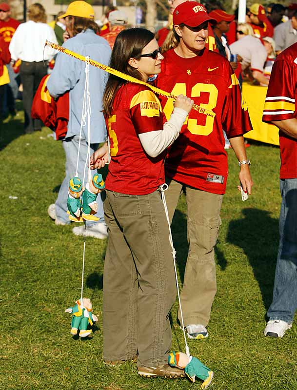 Prior to Saturday's game, a USC fan proudly hung a Notre Dame puppet off a stick.