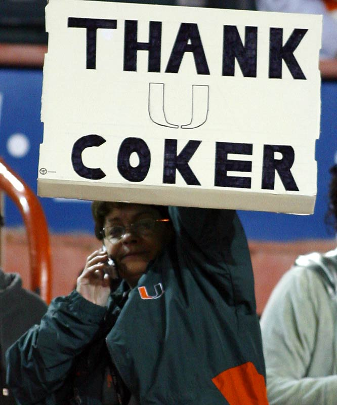 The President of the Larry Coker Fan Club left a message for the recently-fired Hurricanes coach.