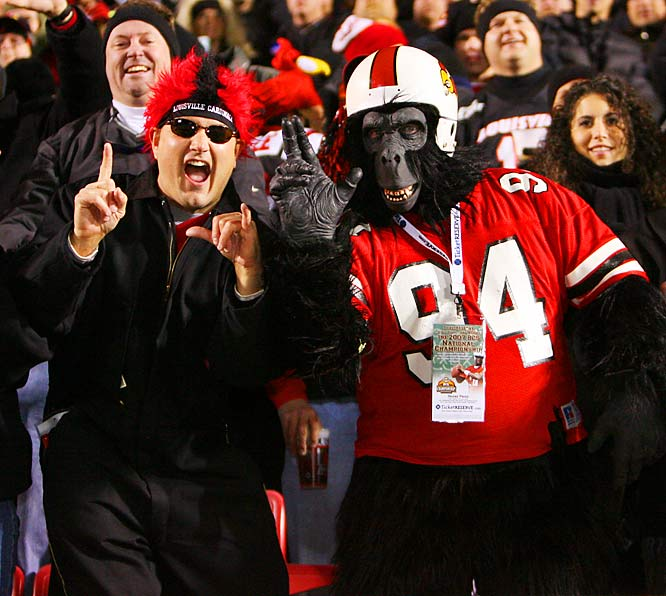 This Louisville fan earned a VIP pass for his gorilla costume during the Cardinals' 44-34 win over West Virginia.