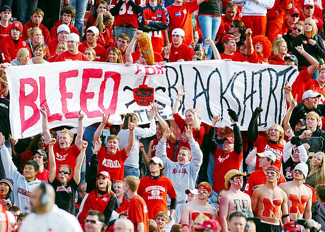 "Nebraska fans unfurled a giant ""Bleed for the Blackshirts"" sign during the Cornhuskers' 34-20 win over Missouri."