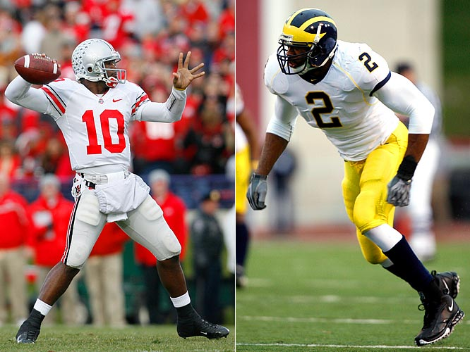 "Ohio State quarterback, senior Troy Smith at  6'1"" and 215-pounds will attempt to beat Michigan linebacker Shawn Crable, a 6'5"", 241-pound senior."