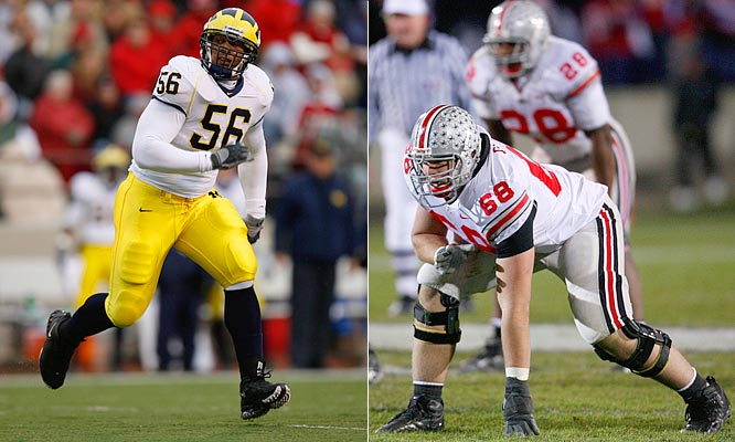 "Michigan's defensive end LaMarr Woodley a 6'2"", 269-pound senior will go head-to-head with Ohio State left tackle Tim Schafer, a 6'5"", 290-pound senior."