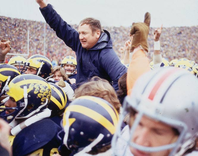 Schembechler may have achieved the biggest win of his career in his first season at the helm of the Wolverines, playing against his former boss Woody Hayes for the first time. Ohio State entered the game as the defending national champs, 17-point favorites and with a No. 1 ranking. At the time, many observers considered the 1969 Ohio State team one of the greatest ever. But Schembechler's 7-2 Wolverines upset Ohio State 24-12.