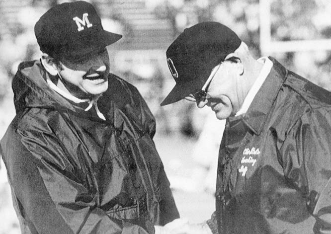 "After Michigan's shocking 1969 win, Schembechler engaged in a ""Ten Year War"" that took the Michigan-Ohio State game to a new level (many consider it the greatest rivalry in sports). Schembechler held a 5-4-1 edge in the legendary series."