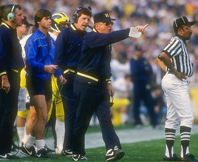 At Michigan, Schembechler recorded a 194-48-5 mark (the school record for wins). His teams won or shared 13 Big Ten titles and made 10 appearances in the Rose Bowl (winning just two). He was named national Coach of the Year in 1969.