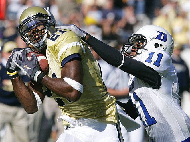Calvin Johnson hauled in two first-half touchdowns before getting a rest in the second half of Georgia Tech's blowout.