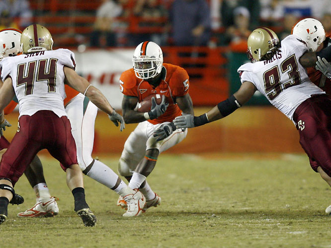 Javarris James scored the winning touchdown for Miami as the Hurricanes upset Boston College in Larry Coker's final game at the Orange Bowl.