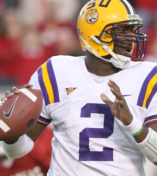 LSU quarterback JaMarcus Russell threw two touchdown passes as the Tigers improved to 10-2 and eliminated No. 5 Arkansas from the BCS title hunt.