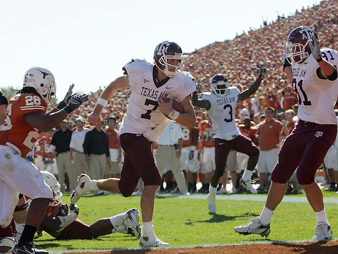 Aggies quarterback Stephen McGee scores the winning touchdown against Texas that snapped a six-game losing streak to the Longhorns.