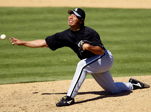 Takatsu came to the majors at age 35 with the White Sox. For a short time, in his rookie year of 2004, he was their closer, saving 19 games. He had eight more saves for the White Sox in '05 before being released, missing their run to the world title. He pitched nine games for the Mets the rest of that season and then left the majors for good.