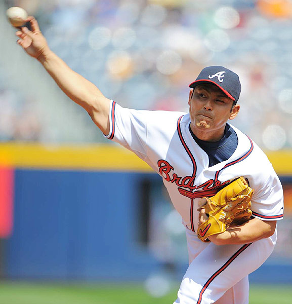 The Braves signed the former Chunichi Dragons starter to a three-year, $23 million contract before the 2009 season, but Kawakami's success hasn't followed him from Japan. After posting a 112-72 record in nine years there, he is just 8-22 in the majors and pitched exclusively in the minors in 2011 after returning from injury.