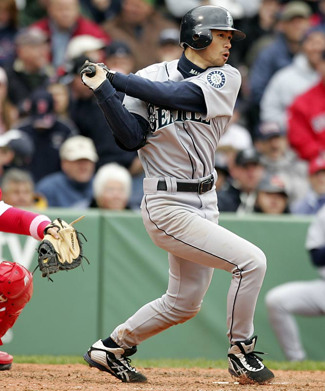 The first Japanese-born position player to play regularly in the majors, the 10-time Gold Glove winner and 10-time All-Star is one of the best hitters and defensive outfielders in the game. The Mariners paid roughly $13 million in posting fees to negotiate with Ichiro in 2000, and signed him to a three-year, $14 million contract. He promptly became the 2001 AL Rookie of the Year and MVP. He set a single-season record with 262 hits in 2004, his second season as AL batting champ and set a major league record with 10 consecutive seasons of 200 or more hits.
