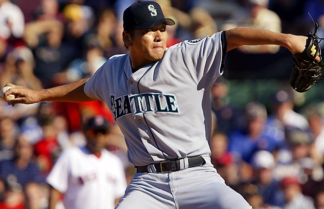 """Armed with a nasty split-fingered fastball that announcers dubbed """"The Thang,"""" Sasaki was AL Rookie of the Year in 2000, when his 37 saves were the most ever at the time for a first-year reliever. He had doubled his rookie salary to $8 million by 2003, his last season with the Mariners."""