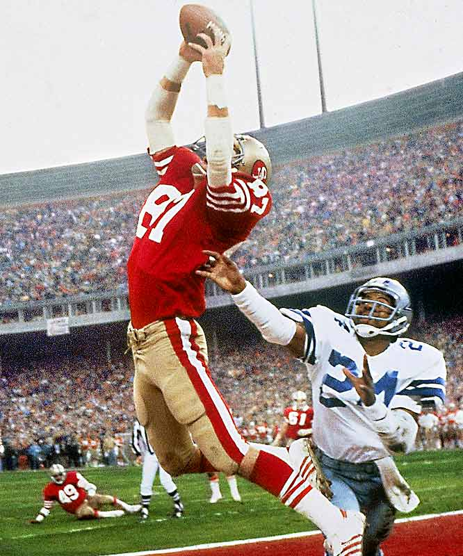 Before 1981, the Cowboys had basically owned the NFC. Then they ran into the 49ers in the NFC Championship Game. Still, Dallas looked like it was going to reach another Super Bowl as it held a six-point lead in the final minute. But the 49ers drove to the Cowboys' 6-yard line with 58 seconds left. As San Francisco quarterback Joe Montana rolled right, it appeared as if he was going to be forced out of bounds by a swarm of Dallas defenders. But Montana got off a high pass to the back of the end zone, where Dwight Clark pulled it in. The 49ers won the game and went on to win their first Super Bowl.