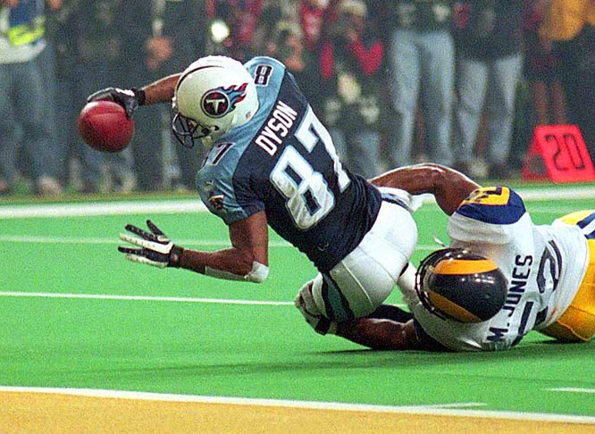 The Titans and Rams battled back and forth throughout Super Bowl XXXIV. The Rams had a 23-16 lead late, but Tennessee had one more shot. Titans quarterback Steve McNair led a great drive deep into St. Louis territory. Tennessee had time for one more play from the Rams' 10-yard line. McNair threw a slant to Kevin Dyson, who was headed for the end zone before St. Louis' Mike Jones barely caught him and pulled him down around the 1-yard line to preserve the win.