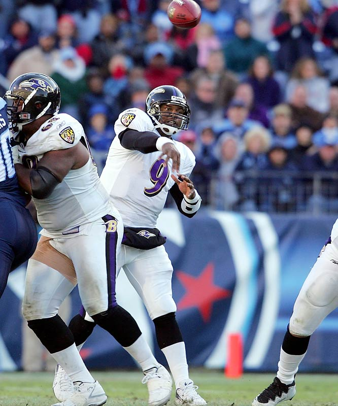 373 ... Ravens quarterback Steve McNair's 373 passing yards against the Titans are the most by a quarterback against his former team in six years, since Vinny Testaverde of the Jets passed for 481 yards on Dec. 24, 2000, against the Ravens, who he played for during the 1996 and 1997 seasons.