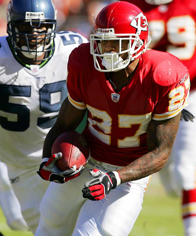 39 ... Chiefs running back Larry Johnson's 39 carries against Seahawks are the most carries by a back in a game since Nov. 9, 2003, when Rudi Johnson of the Bengals had 43 against Houston. Johnson's 155 yards are the fewest on 39 or more carries since Sept. 21, 2003, when Dolphins running back Rickey Williams was 41-for-153 against the Bills.