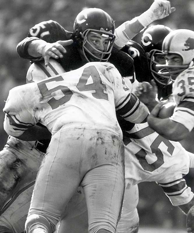 There were other players who redefined the middle-linebacker spot -- like Sam Huff, Chuck Bednarik and Ray Nitschke -- but no one had the impact of Butkus. The Bears legend had the speed and drive to make plays on every inch of the field. He was a monster against the run and could cover tight ends and running backs. But more important than anything was his intensity. He played every game like it was his last -- a necessary ingredient to be a great middle linebacker. Butkus' lineage includes Mike Singletary, Ray Lewis and Brian Urlacher.