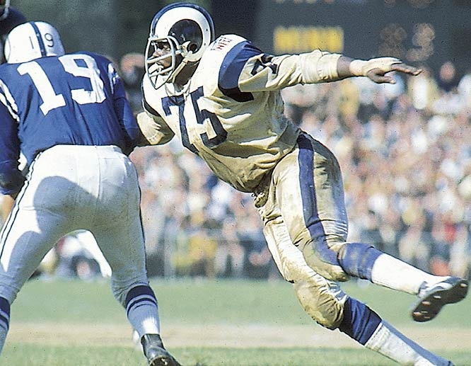 "Some consider Jones to be the first true defensive end. He was fast and strong and got to the quarterback more than any player in his era. Jones even coined the term ""sack"" -- like sacking a city -- for tackling a quarterback behind the line of scrimmage. The NFL didn't count sacks officially until 1982, but historians claim he had 26 sacks in a 14-game season in 1967. Jones' signature move, the head slap, was later outlawed."
