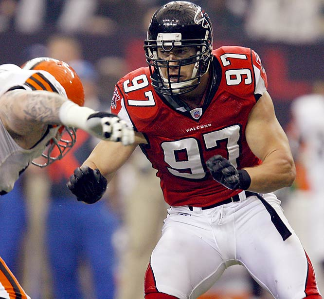The Falcons 2006 sack leader (5) and ironman (105 consecutive starts) is out for the season with a torn right pectoral muscle, leaving an already depleted defense in a world of hurt. Atlanta has only gotten two games out of its other defensive end, John Abraham (groin), and lost nickel back Kevin Mathis when he injured his neck two weeks ago. Cornerback Jason Webster and linebacker Ernie Hartwell are also out indefinitely.