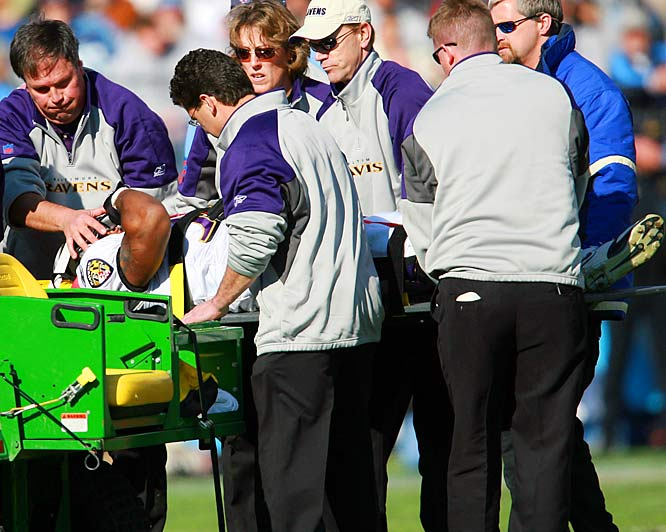 The Ravens running back was taken off on a backboard after taking a hit to the head following a five-yard reception in the second quarter. X-rays were negative, but he did not return to the game.