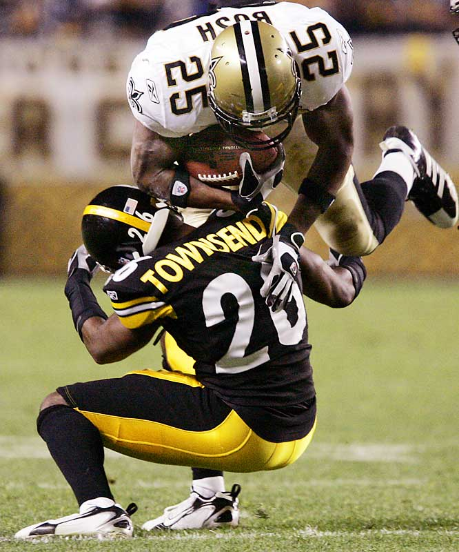 The Steelers won the battle against the Saints, but a couple of their key defenders suffered concussions during the game. Townsend (pictured) had his bell rung and hurt his ankle in the first half. Earlier in the game, safety Troy Polamalu was taken to the sidelines after a concussion.