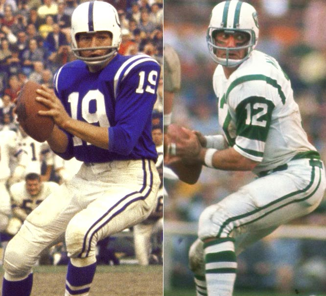 Ironically, Namath idolized Unitas growing up in western Pennsylvania. The two would go on to meet in two of the greatest games in NFL history. The first, Super Bowl III, wasn't a fair battle necessarily, because Unitas didn't play the whole game, which the Colts famously dropped to the Jets. Then in 1972, Unitas and Namath combined for 872 passing games in a regular-season epic. Thanks to Namath's 496 yards passing and six touchdowns, New York won 44-34. Symbolically, both QBs represented their own eras. Unitas, with his flat-top haircut, was the embodiment of old-school NFL, while Namath and his shaggy hair ushered in a new era in the NFL. Though they may not have met often, there was a deep historic rivalry between this Hall of Famers.
