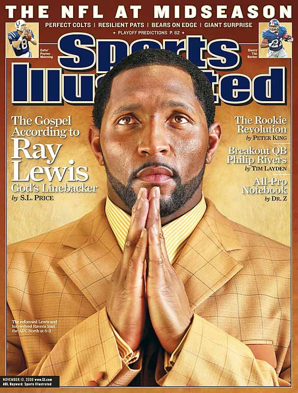 In this week's Sports Illustrated, senior writer S.L. Price tells the story of Ray Lewis, the Baltimore Ravens linebacker who was accused of murder one year and became Super Bowl MVP the next. What follows in this gallery are text excerpts and photos from a story billed in part as one of persecution and redemption, of fathers and sons, of pain caused and pain endured.