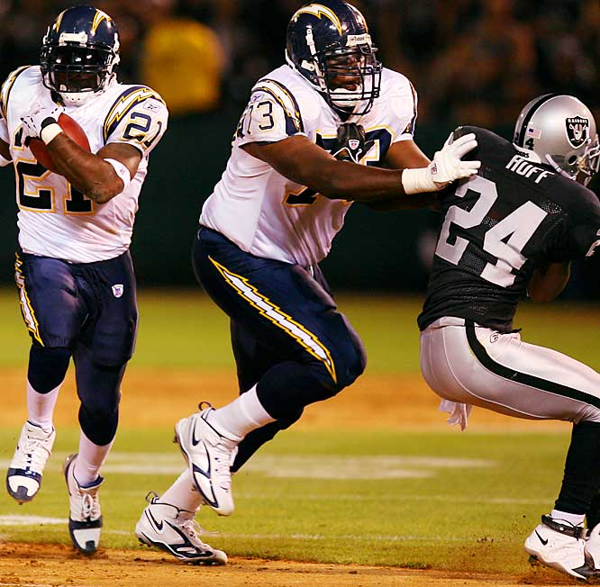 Last Week: Unranked<br><br>You have to give credit to the line for the Chargers' recent offensive success and the rookie left tackle has been an outstanding contributor. Quarterback Philip Rivers has gotten enough time to pick apart defenses and running back LaDainian Tomlinson is running through big holes.